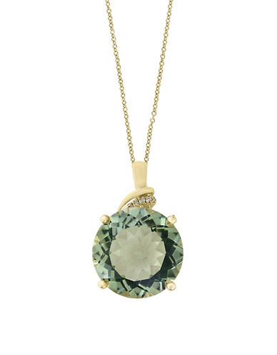 Effy 0.02 TCW Diamonds, Green Amethyst and 14K Yellow Gold Necklace-GREEN-One Size