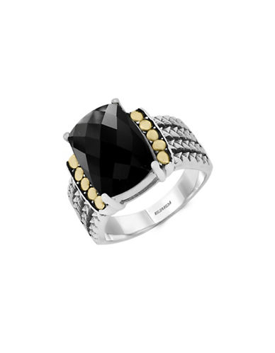 Effy Sterling Silver and 18K Yellow Gold Onyx Ring-ONYX-7