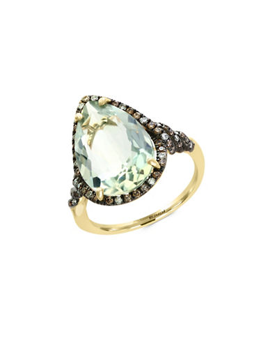 Effy 14K Yellow Gold Green Amethyst and 0.31TCW Brown Diamond Ring-GREEN AMETHYST-7