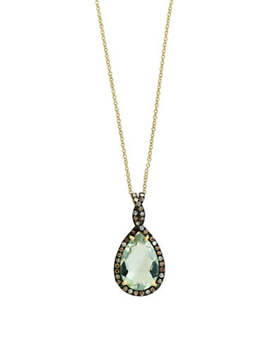 Effy 14K Yellow Gold Green Amethyst and 0.35TCW Brown Diamond Pendant Necklace-GREEN-One Size