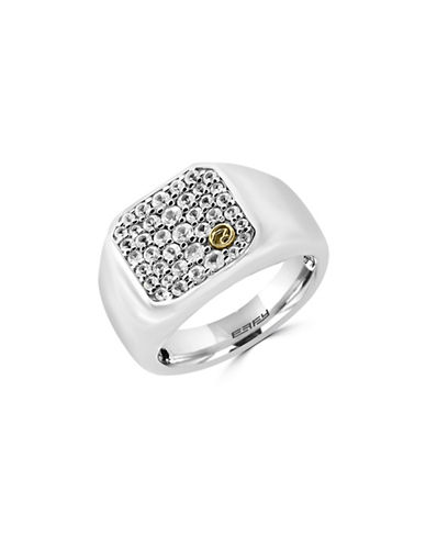 Effy Mens White Sapphire, 18K Yellow Gold and Sterling Silver Insert Ring-WHITE SAPPHIRE-10