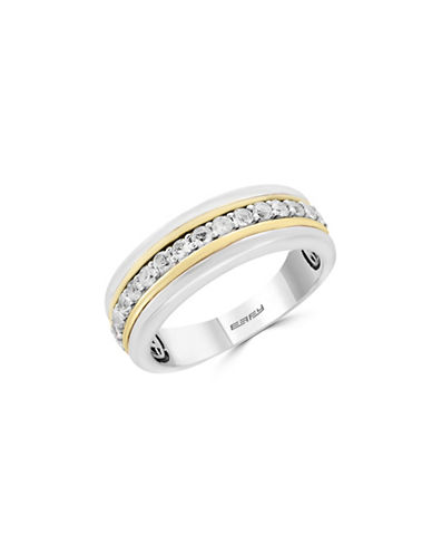 Effy Mens White Sapphire, 18K Yellow Gold and Sterling Silver Contrast Ring-WHITE SAPPHIRE-10