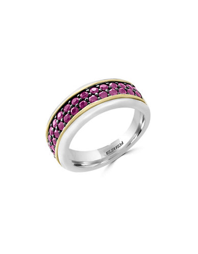 Effy Mens Ruby, 18K Yellow Gold, and Sterling Silver Ring-RUBY-10
