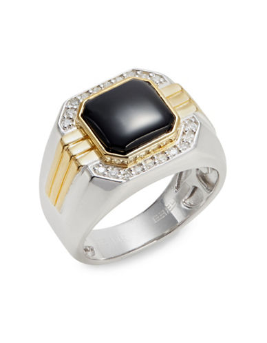 Effy 0.2 TCW Diamond, Sterling Silver, 14K Gold, Onyx Cocktail Ring-BLACK-10