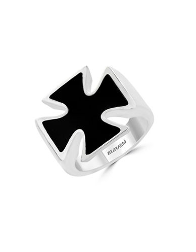 Effy Mens Onyx Sterling Silver Celtic Cross Ring-ONYX-10