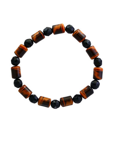 Effy Mens Tiger Eye and Onyx Tennis Bracelet-BROWN-One Size