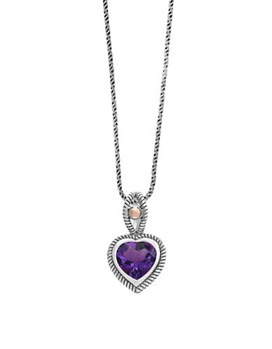 Effy Sterling Silver and 18K Rose Gold Amethyst Pendant Necklace-AMETHYST-One Size