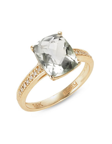 Effy 0.06 TCW Diamond, 14K Yellow Gold Green Amethyst Ring-GREEN-7