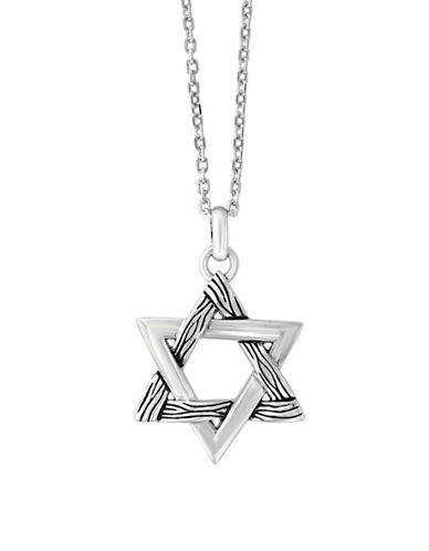 Effy Mens Sterling Silver Star Pendant Necklace-SILVER-One Size