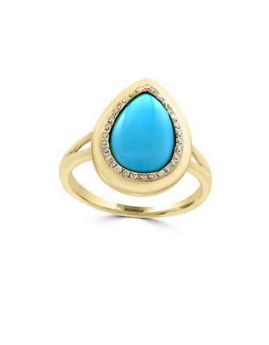 Effy Turquoise and 14K Yellow Gold Ring with 0.11TCW Diamonds-TURQUOISE-7