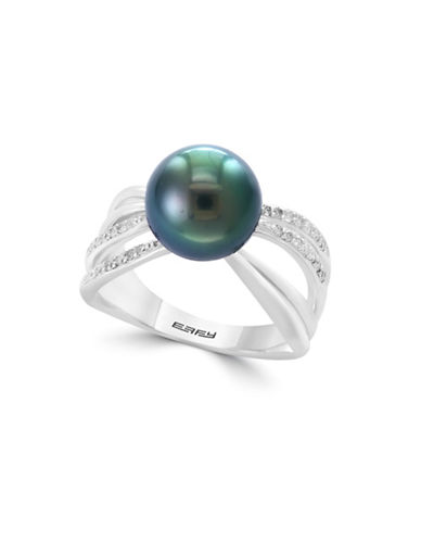 Effy 10MM Tahitian Pearl and Diamond and Sterling Silver Ring-WHITE-7
