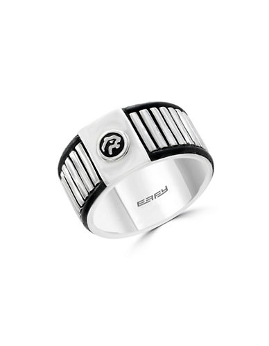 Effy Mens Sterling Silver and Leather Motif Ring-SILVER-10