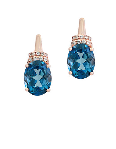Effy 14K Rose Gold Blue Topaz and 0.08TCW Diamond Stud Earrings-BLUE TOPAZ-One Size