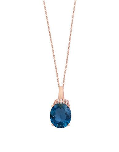 Effy 14K Rose Gold Blue Topaz and 0.06TCW Diamond Pendant Necklace-BLUE TOPAZ-One Size