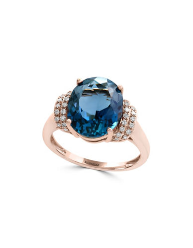 Effy 14K Rose Gold Blue Topaz and 0.12TCW Diamond Ring-BLUE TOPAZ-7