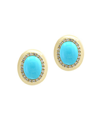Effy 14K Yellow Gold Earrings with Turquoise and 0.17 TCW Diamonds-TURQUOISE-One Size