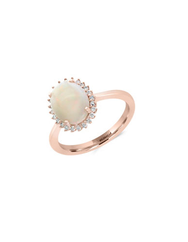 Effy 14K Rose Gold Opal and 0.11TCW Diamond Ring-WHITE-7