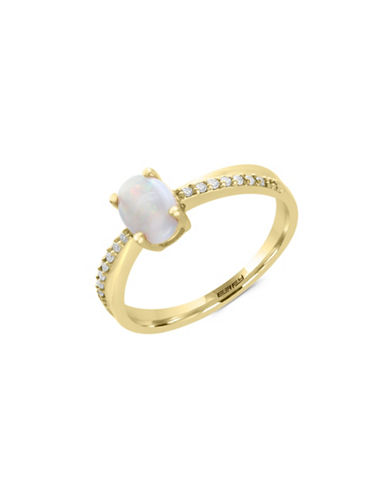 Effy 14K Yellow Gold Opal and 0.07TCW Diamond Ring-WHITE-7