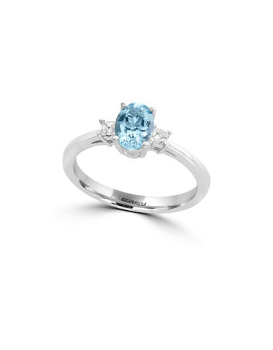 Effy 0.09 TCW Diamond, Aquamarine and 14K White Gold Ring-BLUE-7
