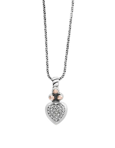 Effy Sterling Silver and 18K Rose Gold 0.07TCW Diamond Heart Pendant Necklace-SILVER-One Size