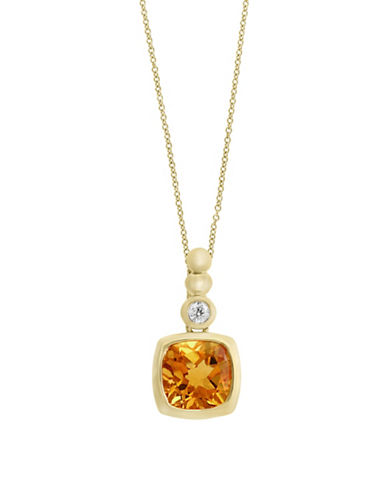 Effy 14K Yellow Gold Citrine and 0.04TCW Diamond Pendant Necklace-CITRINE-One Size