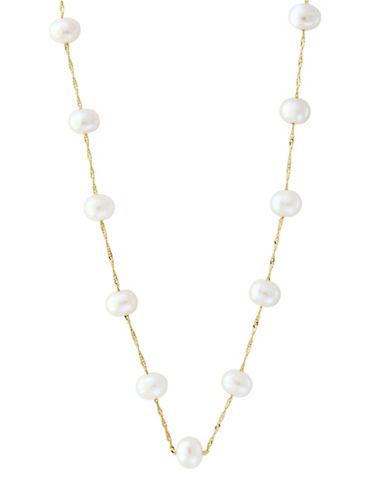 Effy 5.5 MM Round Freshwater Pearl 14K Yellow Gold Necklace-WHITE-One Size