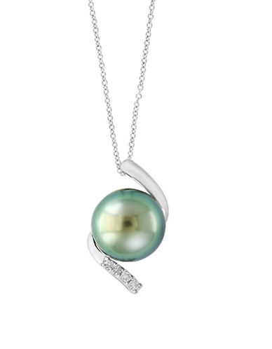 Effy Round Tahitian Pearl and Sterling Silver Pendant Necklace with 0.16 TCW Diamonds-SILVER-One Size