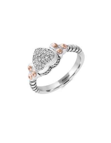 Effy Sterling Silver and 18K Rose Gold 0.08TCW Diamond Ring-DIAMOND-7