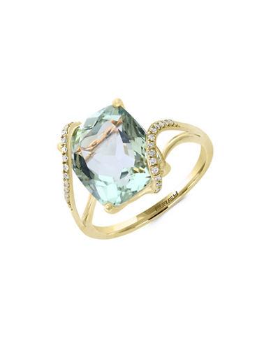Effy 14K Yellow Gold Green Amethyst and 0.09TCW Diamond Ring-GREEN-7