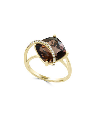 Effy 0.08 TCW Diamond, Smoky Quartz and 14K Yellow Gold Split Shank Ring-BROWN-7