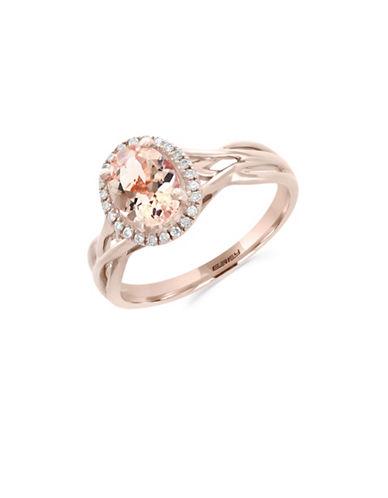 Effy 14K Rose Gold Morganite and 0.09TCW Diamond Ring-MORGANITE-7