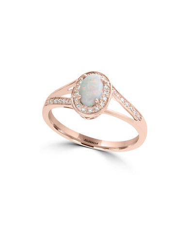 Effy 0.12 TCW Diamond, Opal and 14K Rose Gold Ring-ROSE GOLD-7