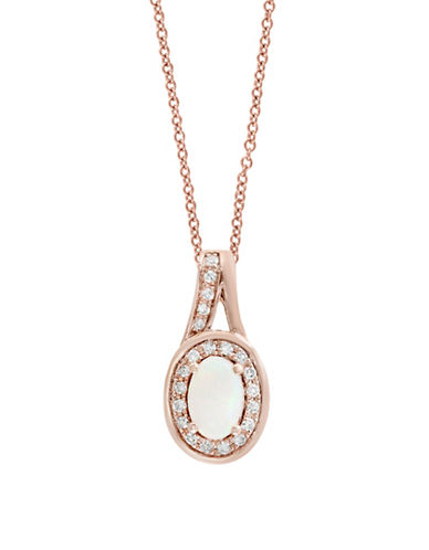 Effy 0.09 TCW Diamond, Opal and 14K Rose Gold Oval Halo Pendant Necklace-ROSE GOLD-One Size