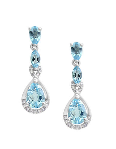 Effy 0.11 TCW Diamond, Aquamarine and 14K White Gold Drop Earrings-AQUAMARINE-One Size
