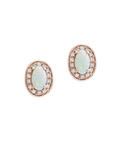 Effy 0.1 TCW Diamond, Opal and 14K Rose Gold Oval Stud Earrings-WHITE-One Size