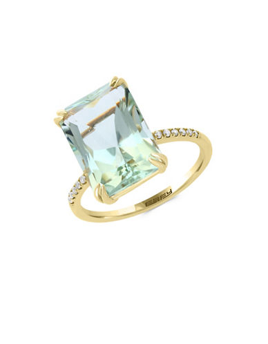 Effy 14K Yellow Gold Green Amethyst and 0.09TCW Diamond Ring-GREEN-7