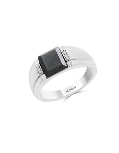 Effy Mens 925 Sterling Silver Hematite Ring with 0.03 TCW Diamonds-BLACK-10