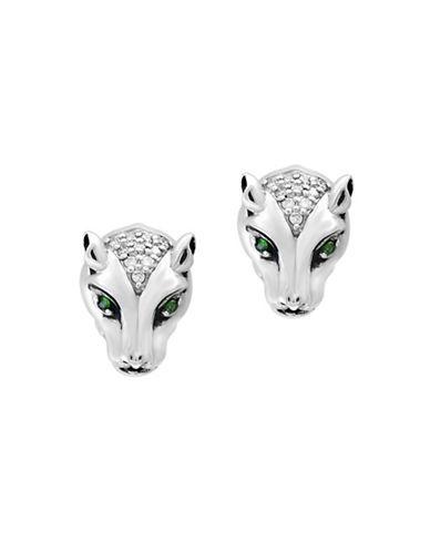 Effy Sterling Silver Tsavorite and 0.1TCW Diamond Leopard Stud Earrings-SILVER-One Size