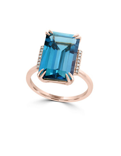 Effy 14K Rose Gold and Topaz Ring with 0.05 TCW Diamond-BLUE-7