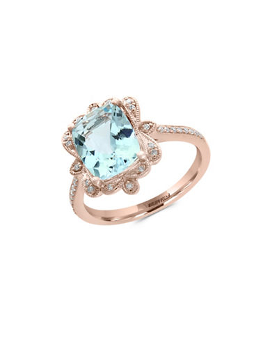 Effy 14K Rose Gold Aquamarine and 0.09TCW Diamond Ring-AQUAMARINE-7