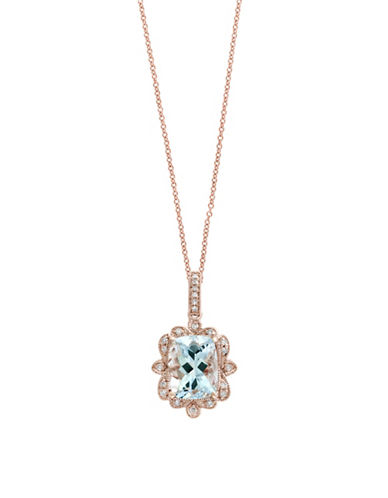 Effy 14K Rose Gold Aquamarine and 0.07TCW Diamond Pendant Necklace-AQUAMARINE-One Size