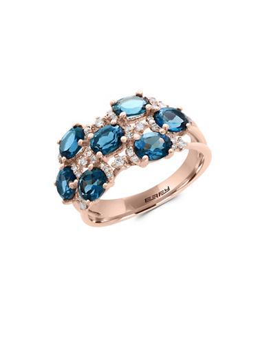 Effy 14K Rose Gold Blue Topaz and 0.24TCW Diamond Ring-BLUE TOPAZ-7
