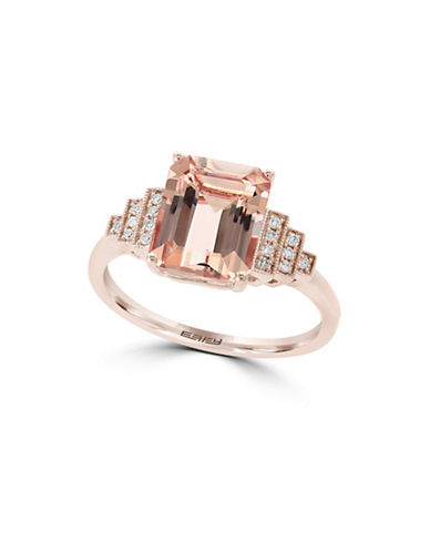 Effy 14K Rose Gold and Morganite Ring with 0.07 TCW Diamond-ROSE GOLD-7
