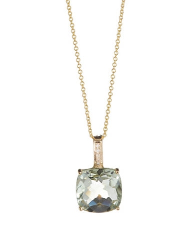Effy 14K Yellow Gold Green Amethyst Pendant Necklace with 0.2TCW Diamonds-GREEN-One Size