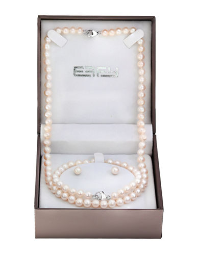 Effy Three-Piece 6.5MM Freshwater Pearl and Sterling Silver Necklace, Bracelet and Earrings Set-WHITE-One Size 89634119_WHITE_One Size