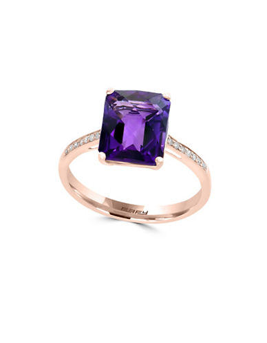 Effy 14K Rose Gold, 14K Gold Amethyst Ring with 0.06 TCW Diamonds-AMETHYST-7