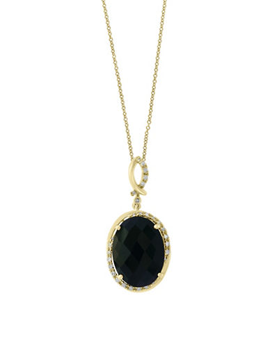 14k yellow gold pendant necklace with 69 tcw onyx and 01 tcw 14k yellow gold pendant necklace with 69 tcw onyx and 01 tcw diamonds hudsons bay mozeypictures Gallery