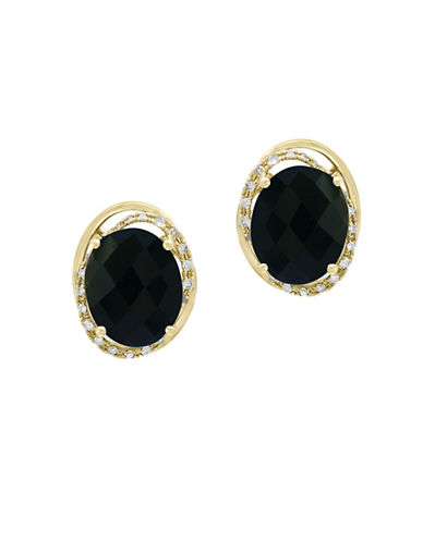 Effy 14K Yellow Gold Earrings with Onyx and 0.2 TCW Diamonds-BLACK-One Size