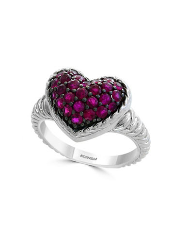 Effy Sterling Silver Ruby Heart Statement Ring-RED-7