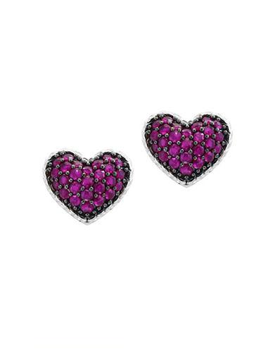 Effy Sterling Silver Ruby Heart Stud Earrings-RED-One Size